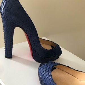 Christian Louboutin Shoes - Christian Louboutin Blue Python Peep Toe Pumps